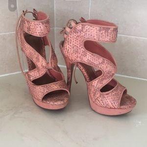 Schütz snake coral heels leather